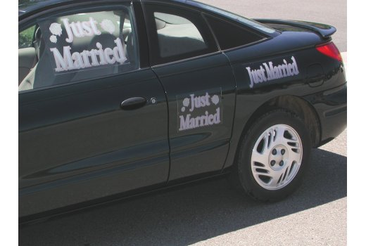 Just Married Car Decal Kit