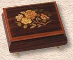 Small Music Box -  WOOD WITH FLOWER INLAY