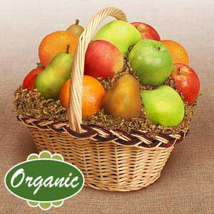 Earth's Banquet: A basket full of beautiful, gift-quality gorgeous fruit, all USDA certified organic! Includes 4 Organic Pears, 3 Organic Oranges, ...