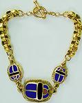 "7.25"" Egyptian 3-scarab enameled bracelet, blue"