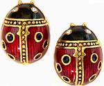 Ladybug post-earrings, red/black