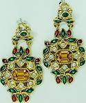 Enameled Indian earrings with rhinesrones