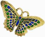 Enameled large Butterfly brooch, blue/green