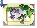 Hummingbird/Fuchsia, Horizontal Stained Glass Panel