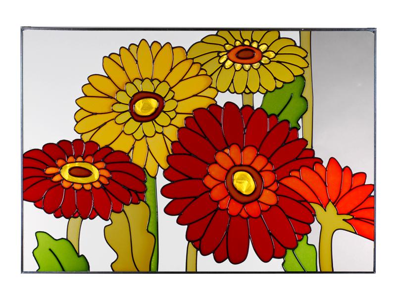 Daisies, Gerbera, Horizontal Stained Glass Panel