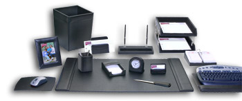 Black Leather 16Pc Desk Set