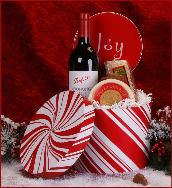 Christmas Joy Wine Gift Basket